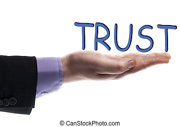 Trust word in male hand