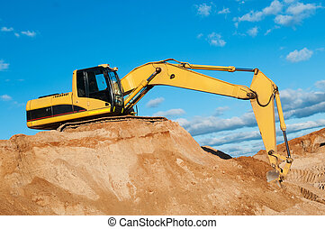 track-type loader excavator at sand quarry - excavator...