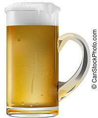 beer - vector realistic beer mug on white background
