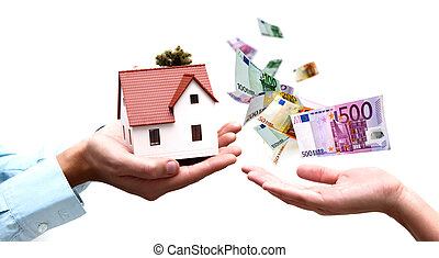 Buy a house - Two hands exchange money with house