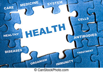 Health puzzle - Health blue puzzle pieces assembled