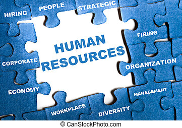 Human resources puzzle - Human resource blue puzzle pieces...