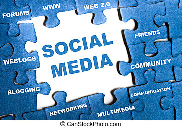 Social media puzzle - Social media blue puzzle pieces...