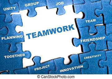 Teamwork puzzle - Teamwork blue puzzle pieces assembled