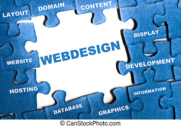 Webdesign puzzle - Webdesign blue puzzle pieces assembled