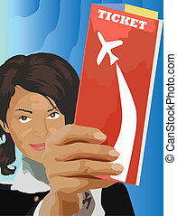 Ticket for travels - Tis is stewardess hold ticket for...