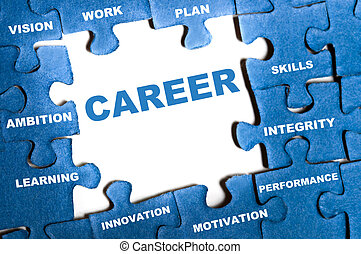 Career puzzle - Career blue puzzle pieces assembled