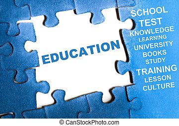 Education puzzle - Education blue puzzle pieces assembled