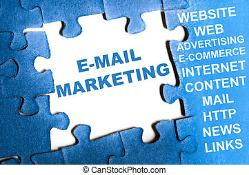 E-mail marketing puzzle - E-mail marketing blue puzzle...