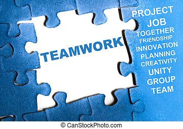 Teamwork puzzle - Teamwork blue puzzle pieces assembled