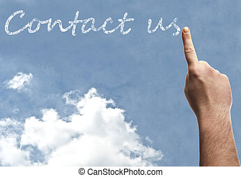 Contact us word on blue sky