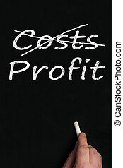 Costs and profit on black board