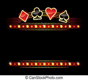 Neon with Card symbols - Gold card symbols over place for...