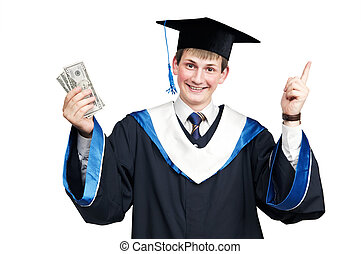 Smiley graduate student in cloak with money - Young smiley...