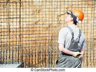 construction worker builder - one builder worker in work...