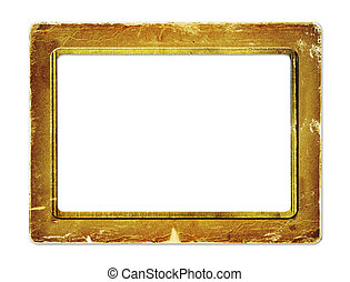 gold paper frame for portraiture on the white isolated...