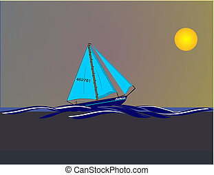 Night Sailing  in a yellow moon