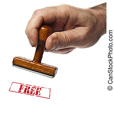 Free stamp on white background
