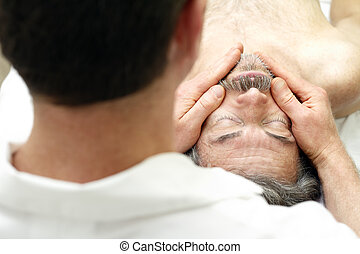 Male Face Massage - Mature man getting face massaged by a...