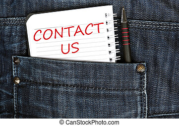 Contact us message on notepad