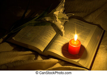 Bible by Candlelight - bible with candle and orchid