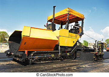 tracked asphalt paver - tracked paver at asphalt pavement...