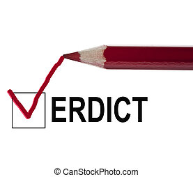 Verdict message and red pencil