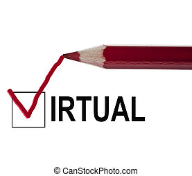 Virtual message and red pencil