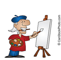 artist - Cartoon artist with copy space on canvas for own...