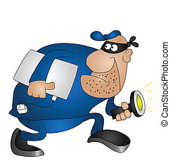 burglar - Cartoon burglar isolated on white background with...