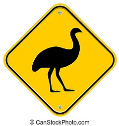 Emu - Yellow traffic sign with an Emu