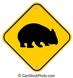 Wombat - Yellow sign with a wombat
