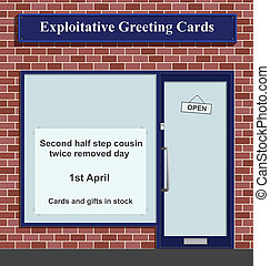 Exploitative greeting card shop with made up celebration day...