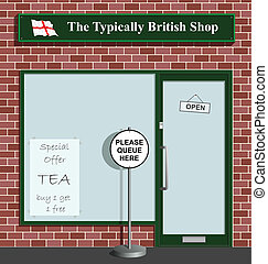 Typically British Shop - Polite queue sign at the Typically..