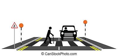 Old man slowly walking across a zebra crossing
