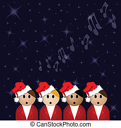 Christmas carol singers against a star covered night sky