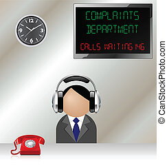 complaints department - Man in customer complaints...