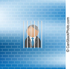 prisoner - Concept of man feeling being a prisoner with copy...