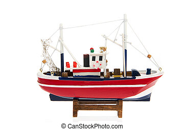 Fishing trawler - Wooden miniature fishing trawler boat...