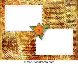 Card for invitation or congratulation with rose