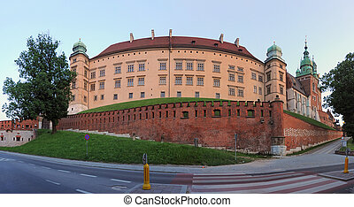 Wawel - fish-eye photo of Wawel - Royal castle in Krakow...