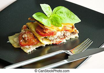 Lasanha, picado, peru, carne, tomates