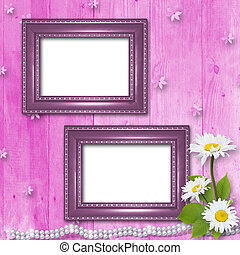 Frame for invitation or congratulation with bouquet of flowers