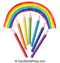 vector set of colored pencils and rainbow