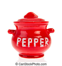 Red pepper pot - Red pot with pepper isolated over white