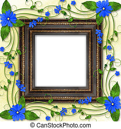 Wooden frame in the Victorian style with blue flowers