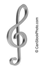 Silver 3D treble clef over white