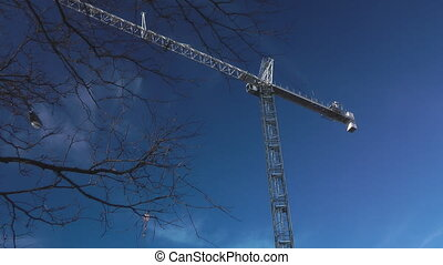 Crane Turning - Gantry Crane On A Construction Site