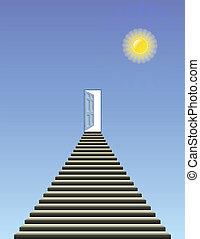 heaven - Symbolic representation of stairway and open door...