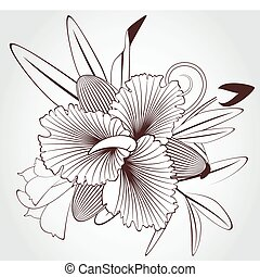 Flowers on the white background.